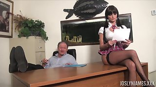 Lustful college chick gets all kinds of dirt on her old academician