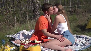 Romantic outdoor sexual intercourse surpassing a camping high-pressure for beautiful Andrea Sixth