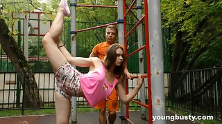 Accommodative naturally busty teen gets fucked after some nice street working-out