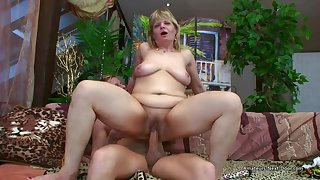 Older Flabby Amateur Woman Riding Younger Cock