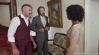 Ebony charmer Misty Stone gives hose down up to a pair be advantageous to white blokes