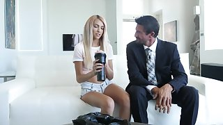 Petite blonde receives a fat dose of barely satisfactory load of shit from her stepdad