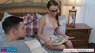 Sister's nerdy friend Kacy Excursion adulterated at large to be to date cock sucker