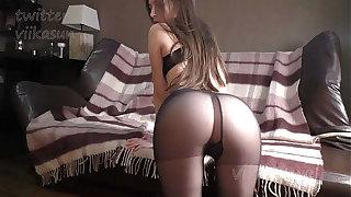 Slim Murk In Black Pantyhose Shows Pussy