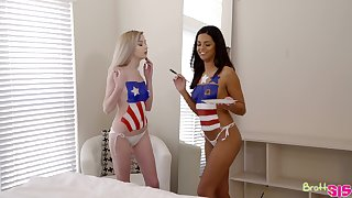 Patriotic threesome adjacent to hot babes Lexi Lore and Vienna Black