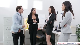 Two babes snarled illegal Ariana Marie sucking co-worker's dick in a catch office
