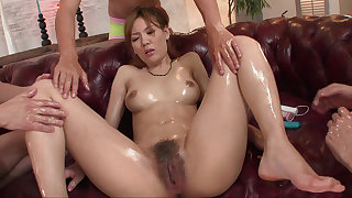 Hairy pussy Japanese belle fucked with toys