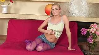 Smiling blonde moans with admiration from riding a huge cock