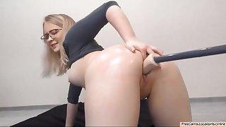 Chubby Blonde Slut Taking Machine Dildo In Both Holes