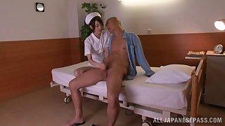 Slender Japanese nurse rides a gigantic boner cowgirl pose after giving a blowjob